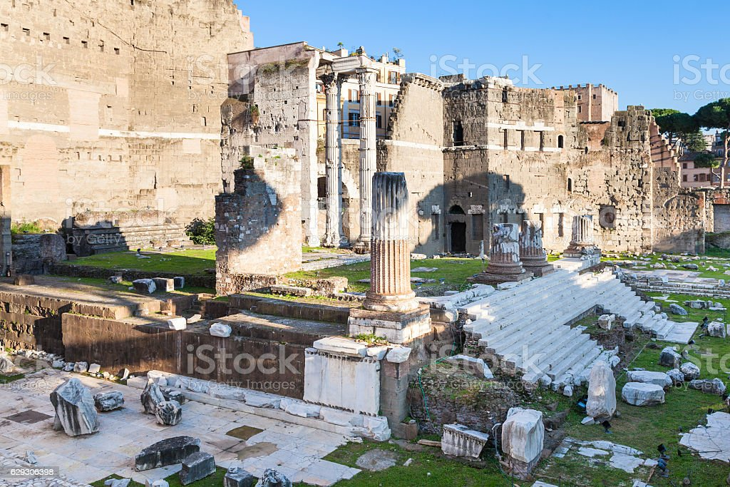 ruins of Forum of Augustus in Rome stock photo