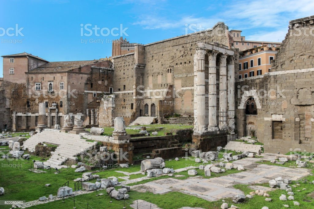 ruins of Forum of Nerva in rome stock photo
