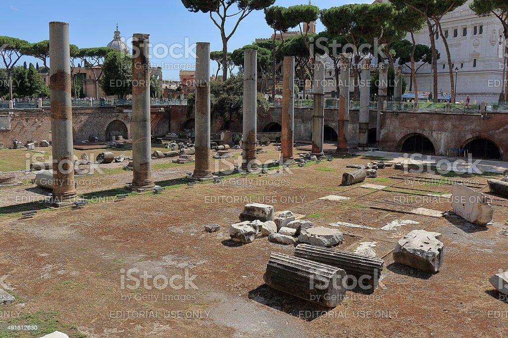 Ruins of forum of Trajan in Rome stock photo