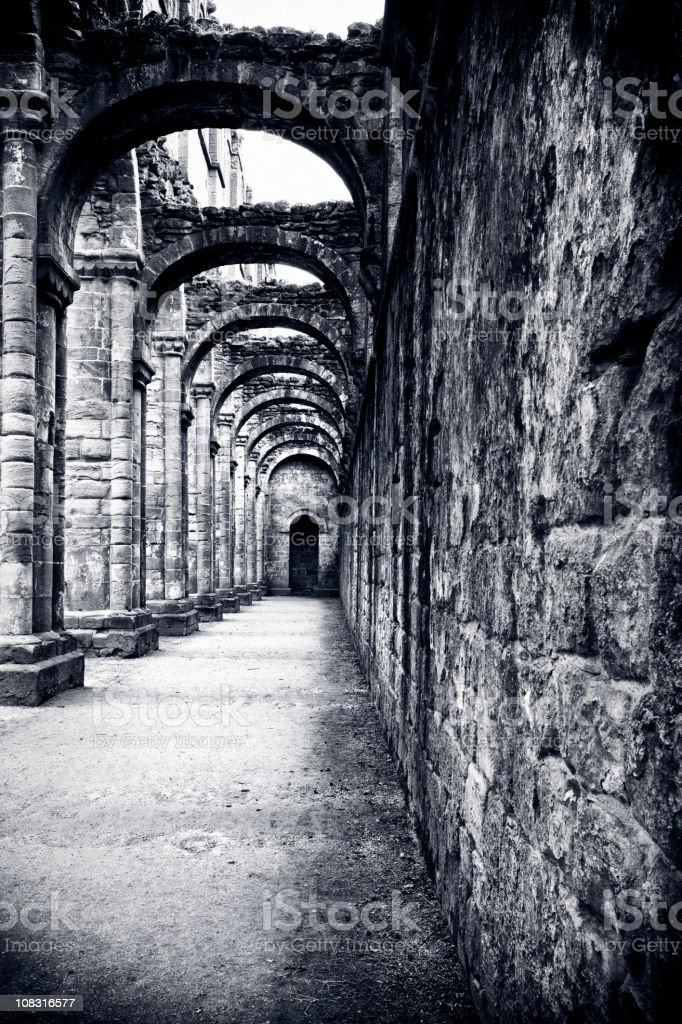 Ruins of Fountains Abbey stock photo