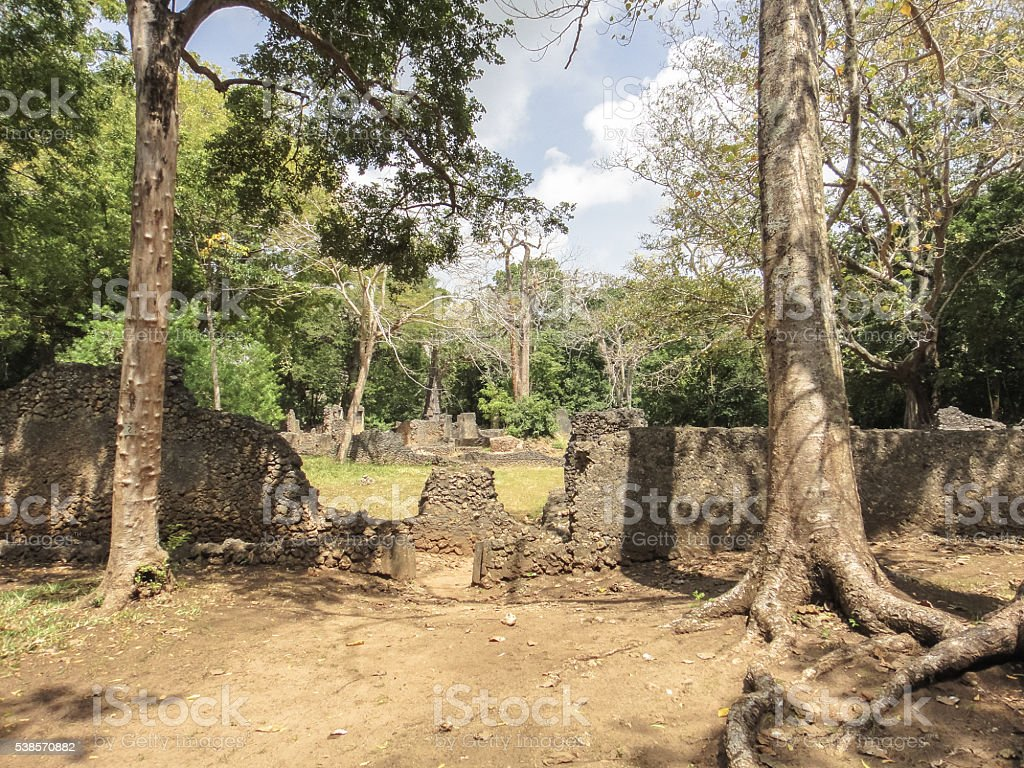Ruins of Gede (Gedi). Ancient city near Malindi. Kenya stock photo