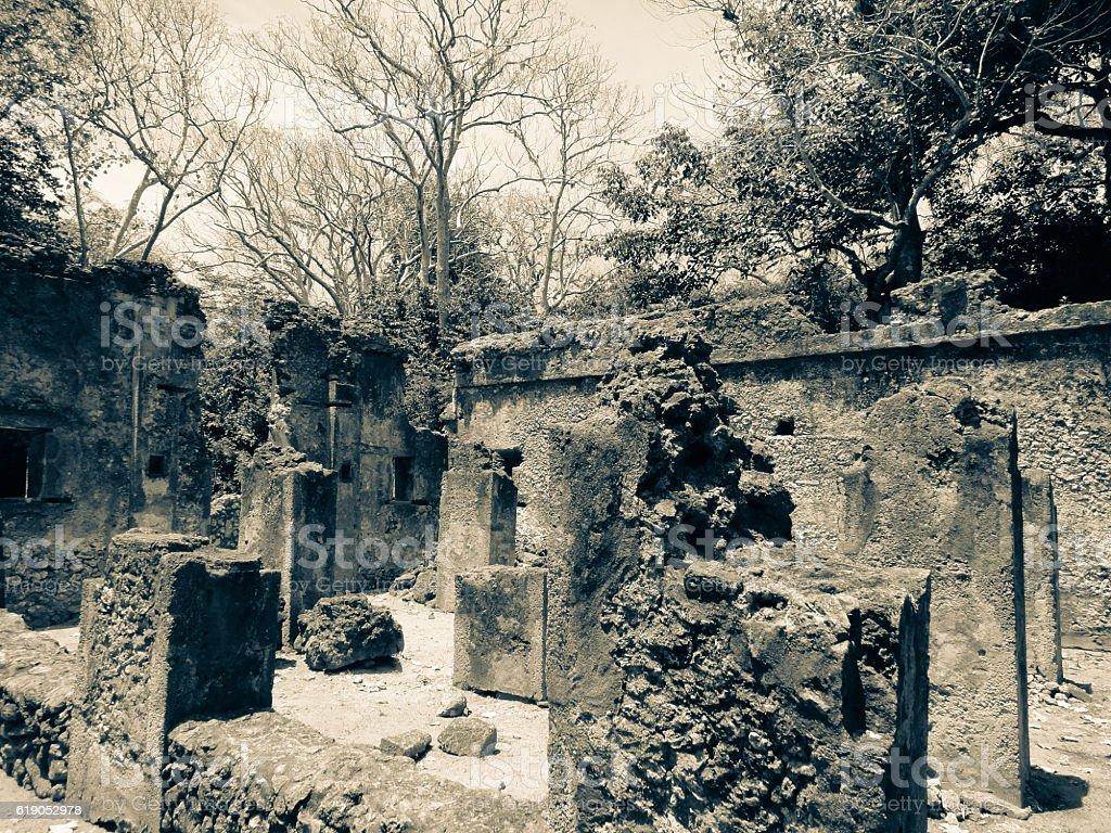 Ruins of Gede (Gedi). Ancient city near Malindi stock photo