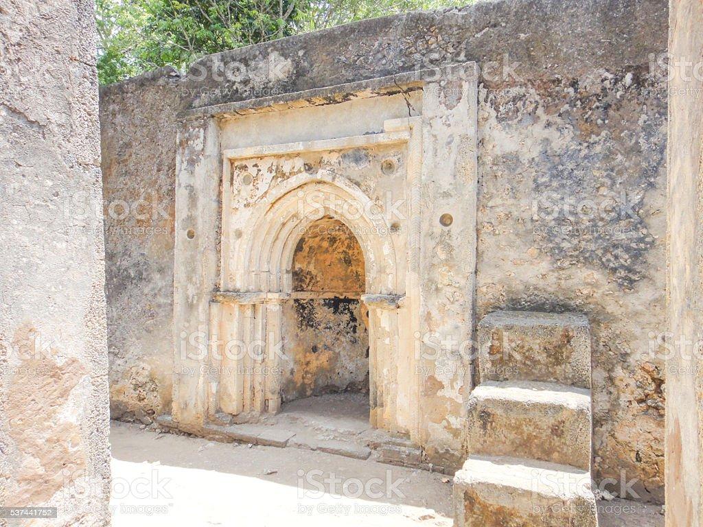 Ruins of Gedi (Gede). Swahili town in Kenya near Malindi stock photo