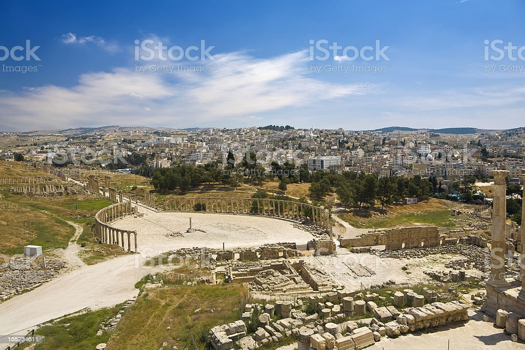 Ruins of Gerasa (Jerash) stock photo