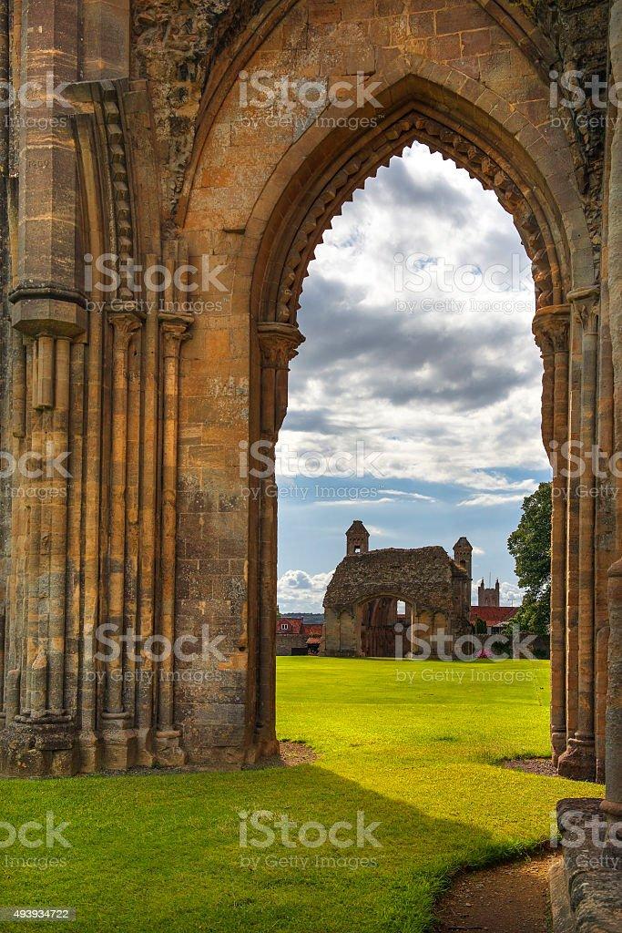 ruins of Glastonbury Abbey, Somerset, England stock photo