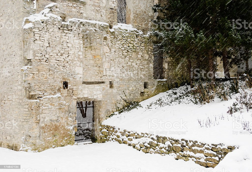 Ruins of Goldie Mill in Winter Located in Guelph Ontario stock photo