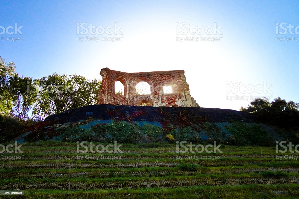 Ruins of gothic church - Trzesacz near the Baltic Sea. stock photo