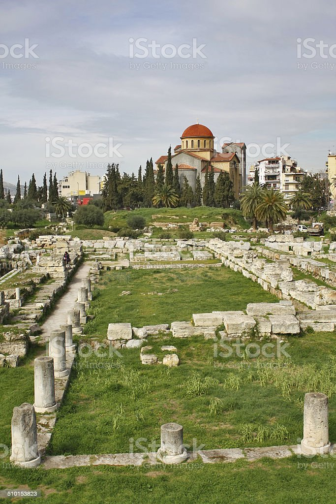 Ruins of Greek ancient cemetery with Holy Trinity Church stock photo