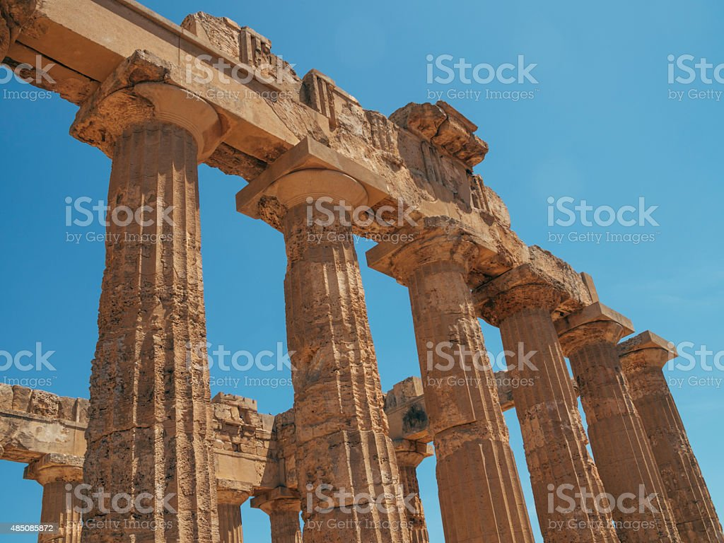 Ruins of greek temple, Selinunte, Sicily, Italy stock photo