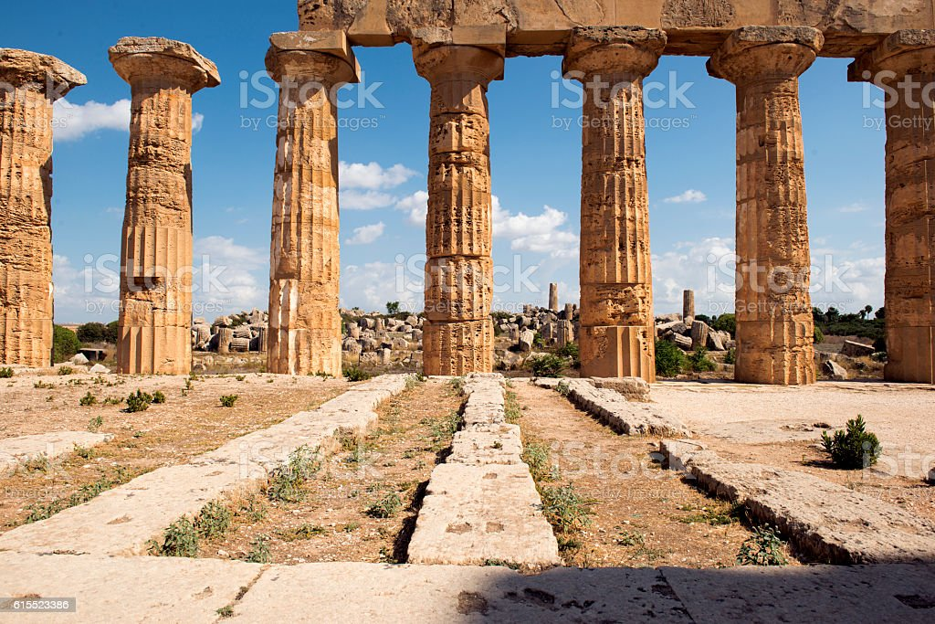 Ruins of greek temple Selinunte Sicily Italy stock photo