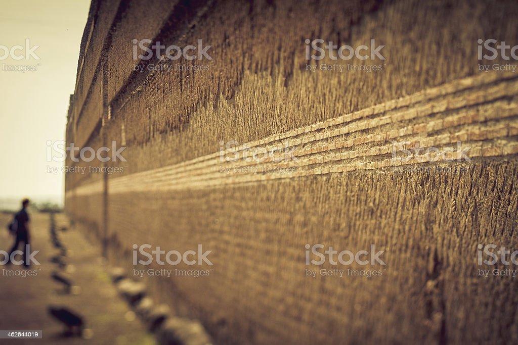 Ruins of Hadrian's Villa at Tivoli: the Poikile wall stock photo