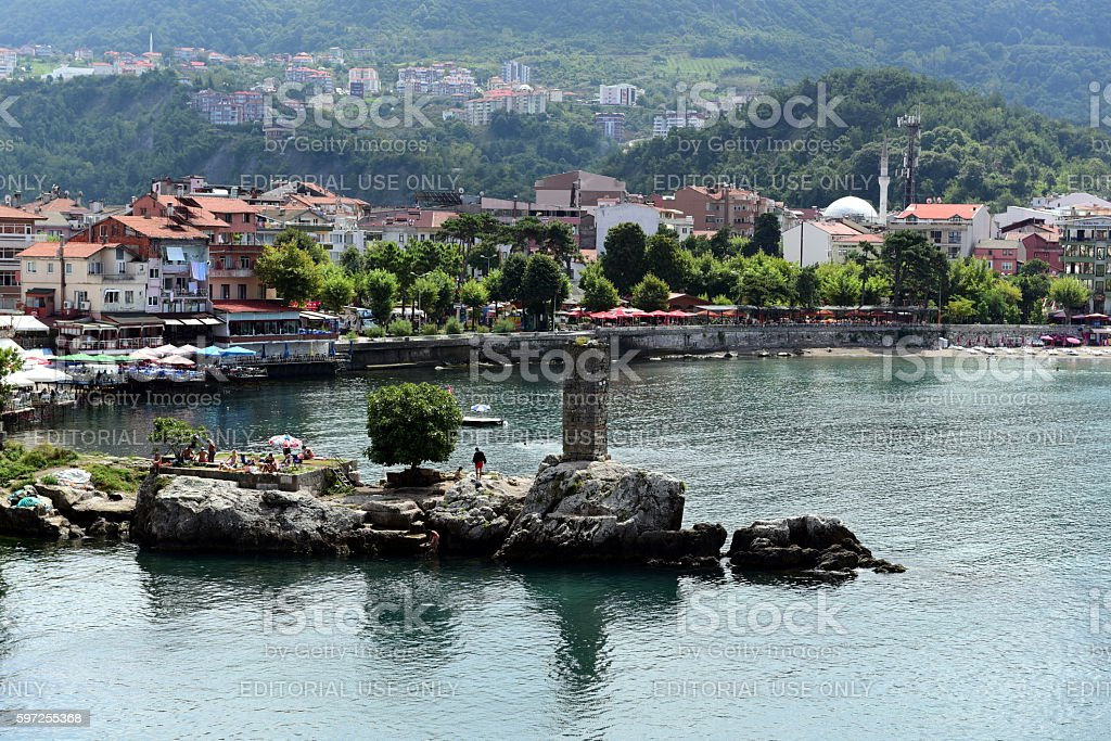 Ruins of historical castle of Amasra stock photo