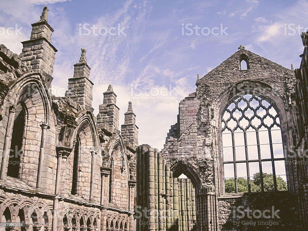 Ruins of Holyrood Abbey, Edinburgh stock photo