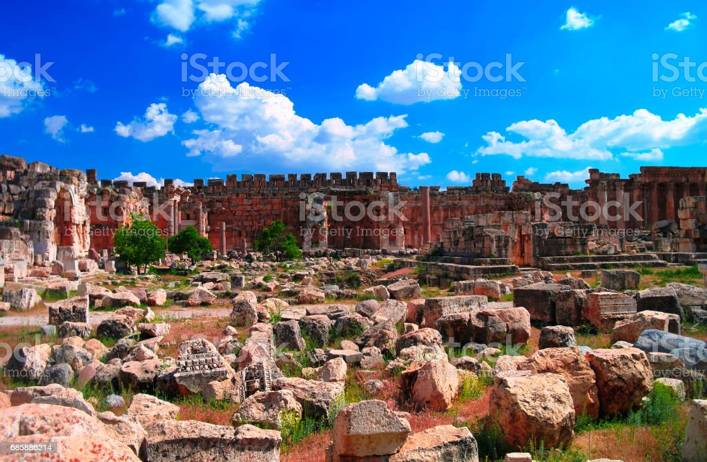 Ruins of Jupiter temple and great court of Heliopolis in Baalbek, Bekaa valley, Lebanon stock photo