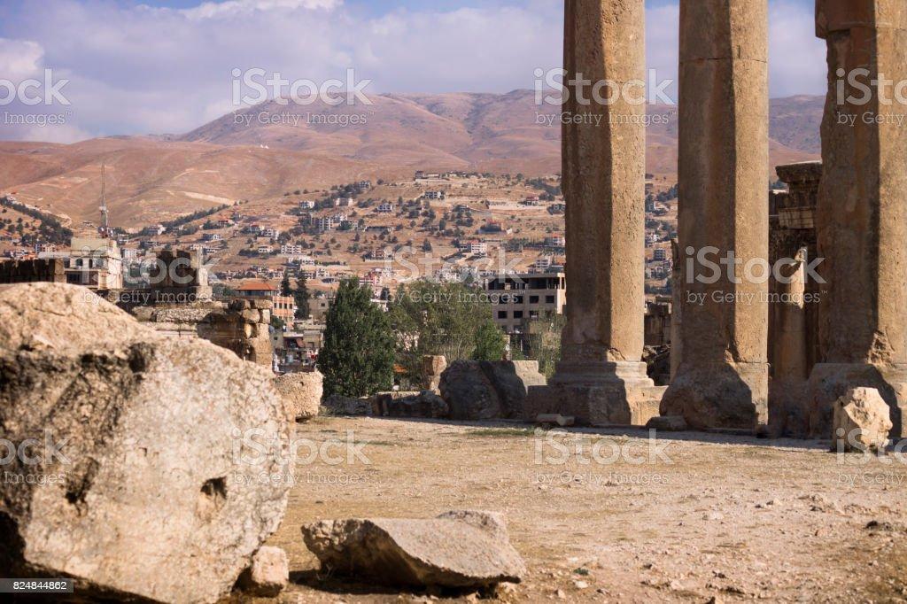 Ruins of Jupiter temple and mountain range in Baalbek, Bekaa valley Lebanon stock photo