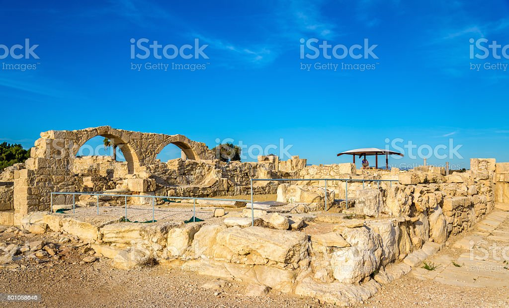 Ruins of Kourion, an ancient Greek city in Cyprus stock photo