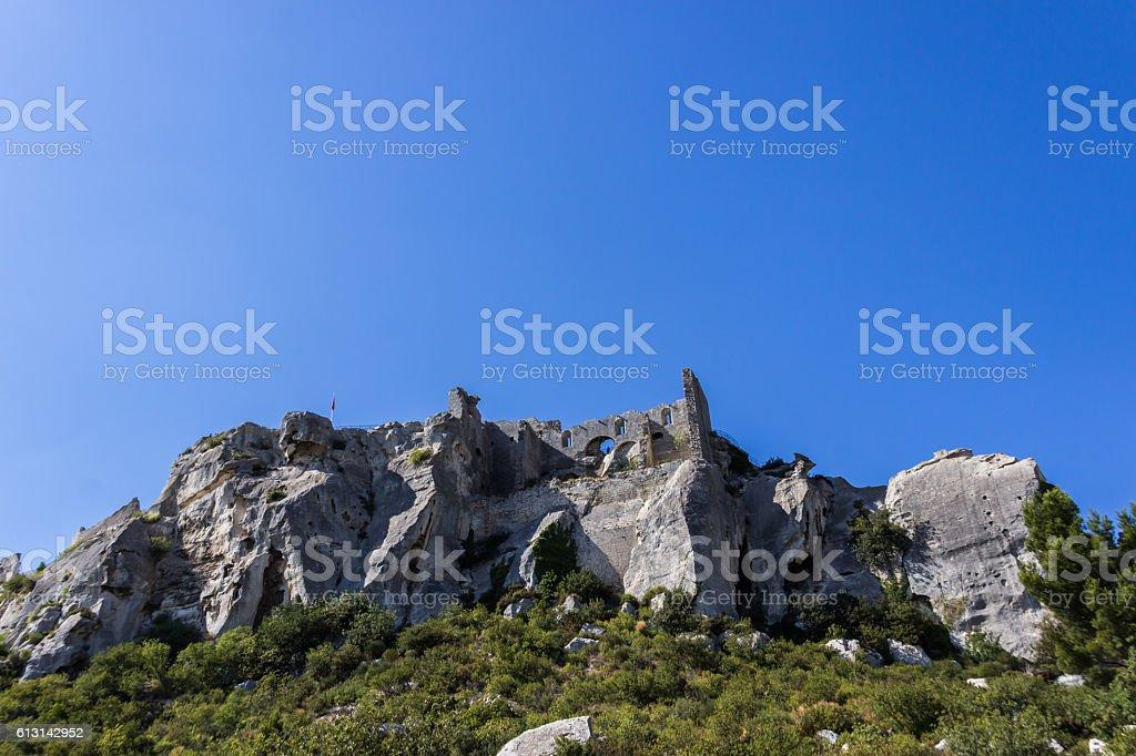 Ruins of Les Baux de Provence and castle stock photo