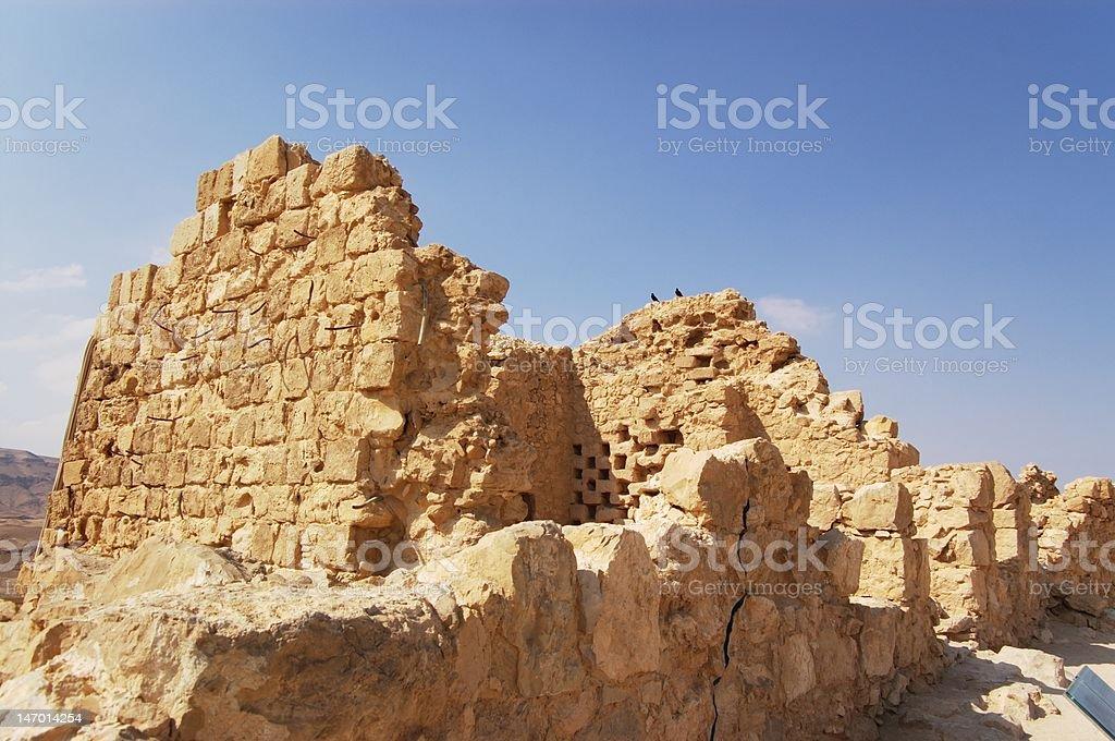ruins of Masada fort stock photo