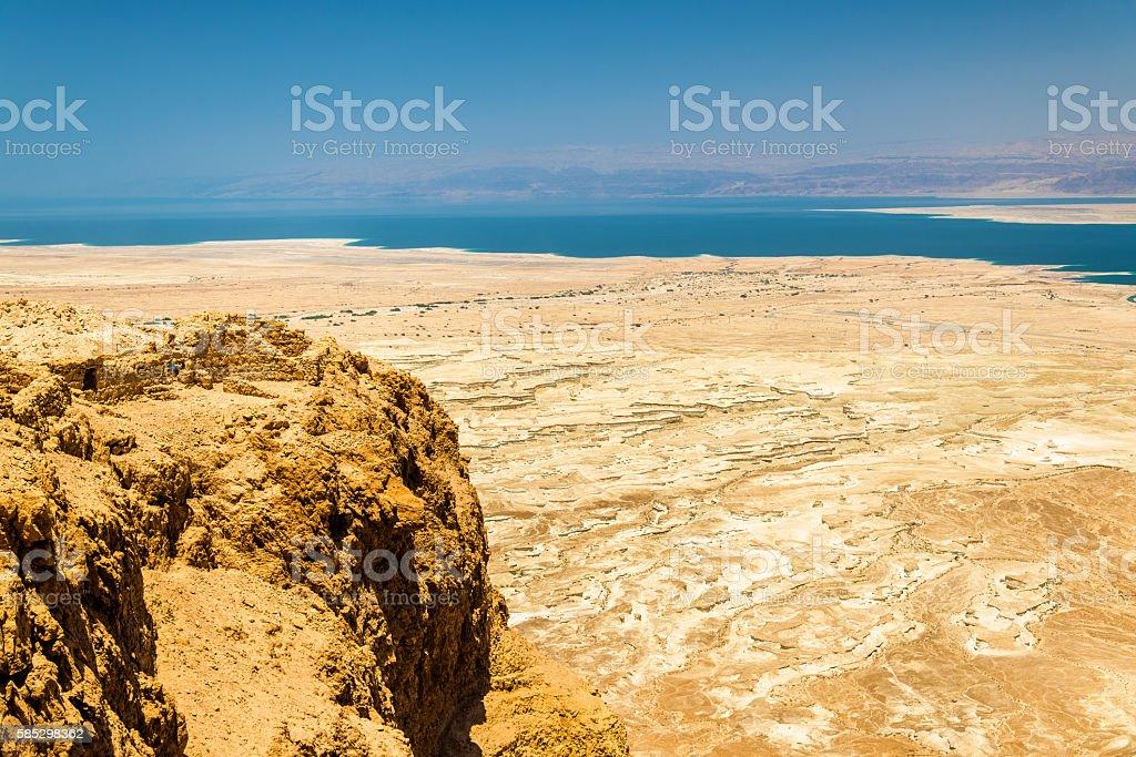 Ruins of Masada fortress and Dead Sea stock photo