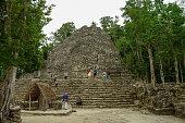 Ruins of mayan Pyramid in Coba. Mexico.