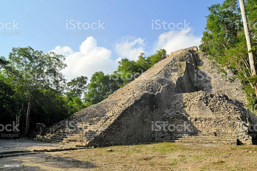 Ruins of Mayan pyramid in jungle, Coba, Yucatan, Mexico stock photo