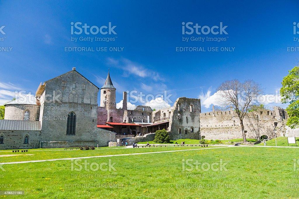 Ruins of medieval Haapsalu Episcopal Castle under blue sky stock photo