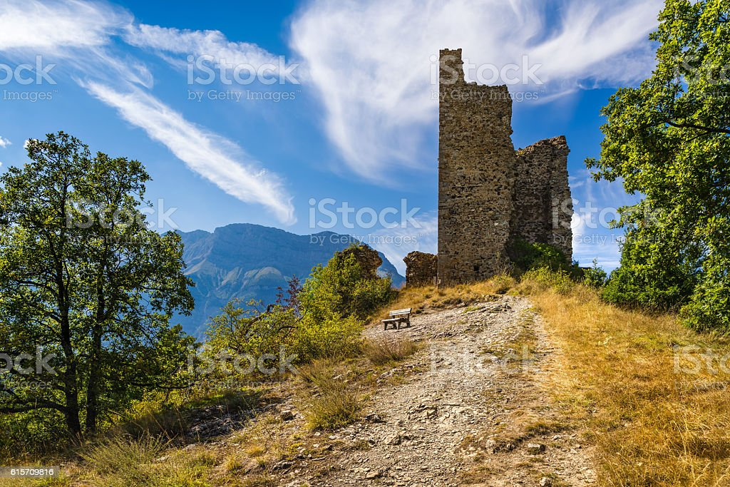 Ruins of medieval Saint-Firmin castle. Valgaudemar, Alps, France stock photo