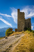 Ruins of medieval Saint-Firmin castle. Valgaudemar, Alps, France