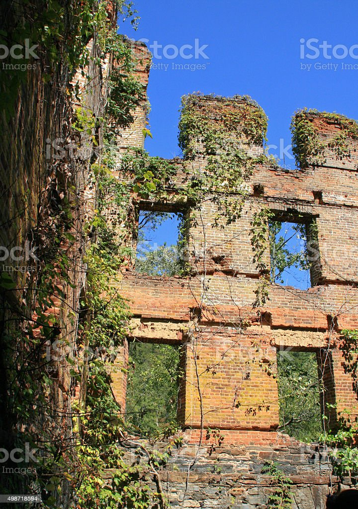 Ruins of Mill at Sweetwater Creek State Park in Georgia stock photo