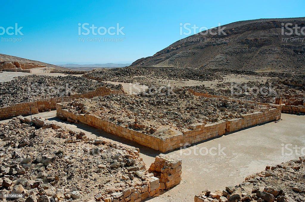 Ruins of Nabataean city Mamshit, Israel stock photo