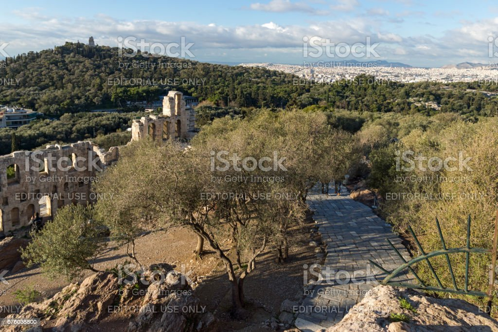 ATHENS, GREECE - JANUARY 20 2017:  Ruins of Odeon of Herodes Atticus in the Acropolis of Athens, Greece stock photo