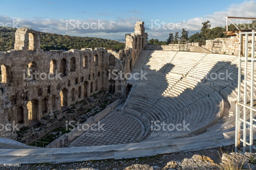 Ruins of Odeon of Herodes Atticus in the Acropolis of Athens, Greece stock photo