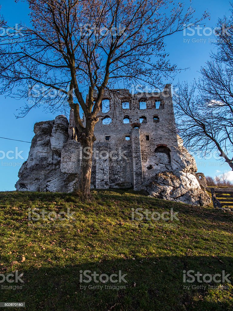 Ruins of Ogrodzieniec castle - Poland stock photo