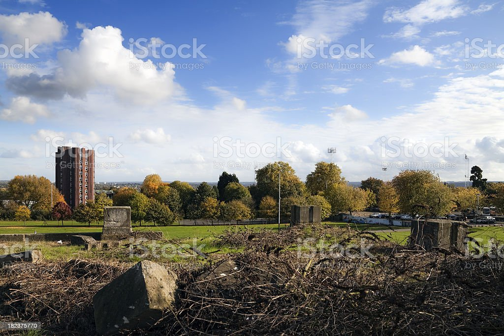 Ruins of old Crystal Palace with view to Kent stock photo