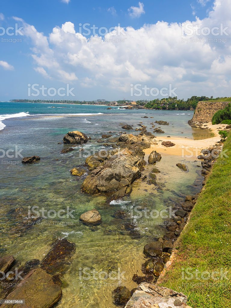 Ruins of old fort Galle in Sri Lanka stock photo