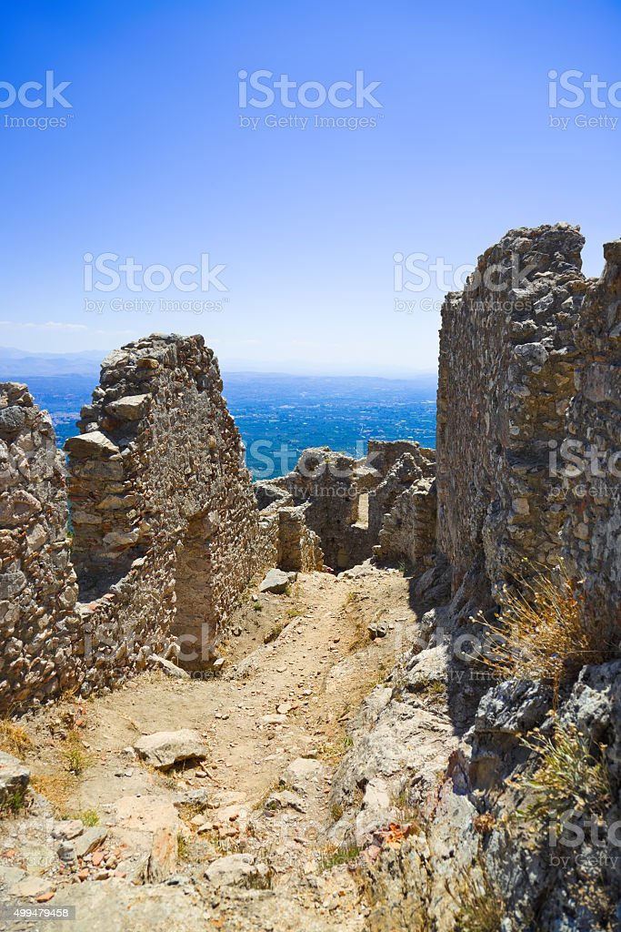 Ruins of old fort in Mystras, Greece stock photo