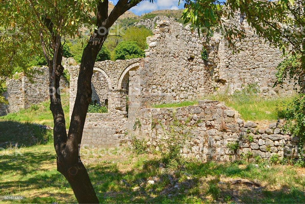 Ruiny stary pałac w starym Bar miasta, Czarnogóra zbiór zdjęć royalty-free
