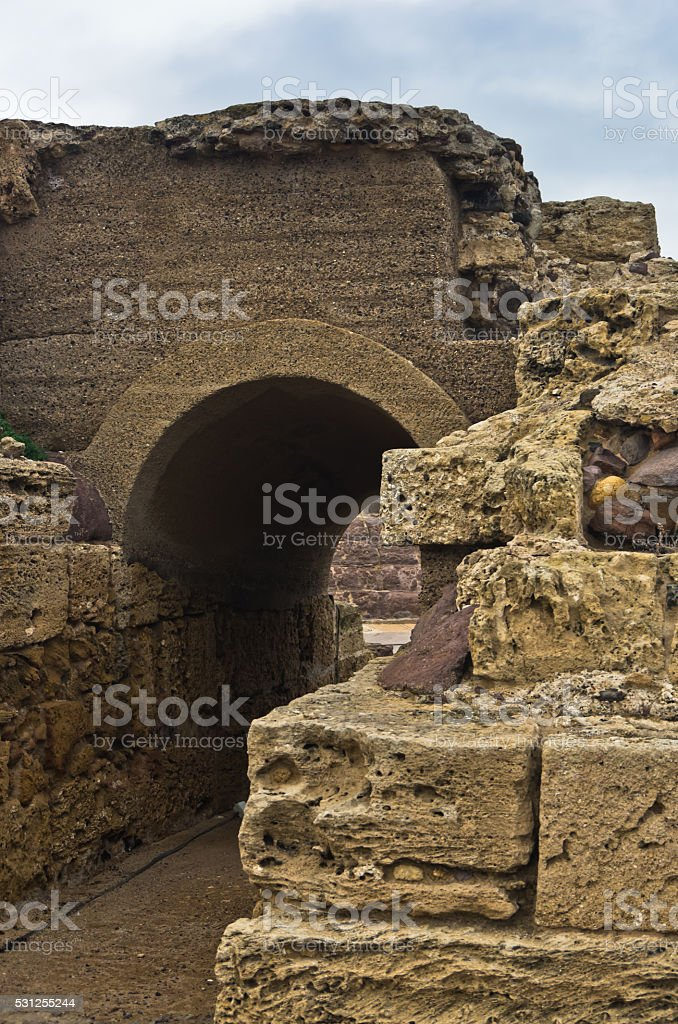Ruins of old roman city of Nora, island of Sardinia stock photo