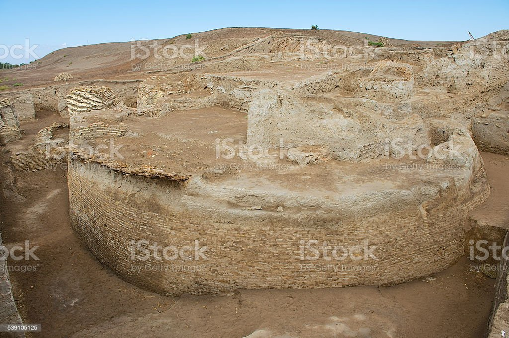 Ruins of Otrar (Utrar or Farab), Kazakhstan. stock photo