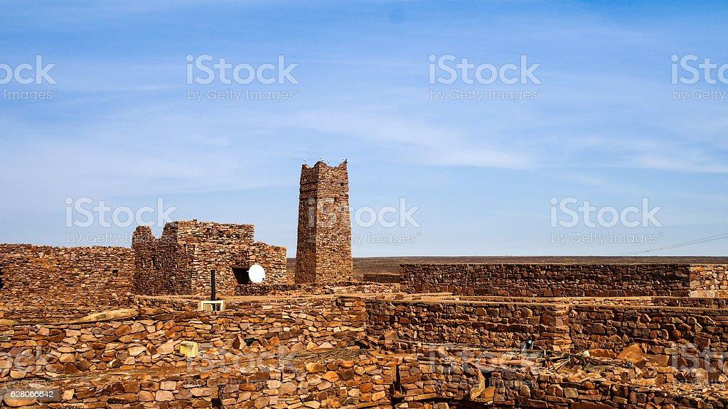 Ruins of Ouadane fortress in Sahara Mauritania stock photo
