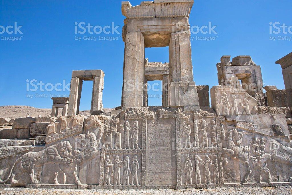 Ruins of palace with symbols of Zoroastrians, Persepolis stock photo