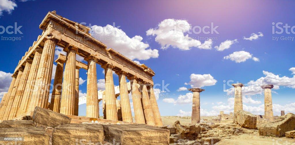 ruins of Parthenon temple of goddess Athena in Acropolis Athens, Greece stock photo