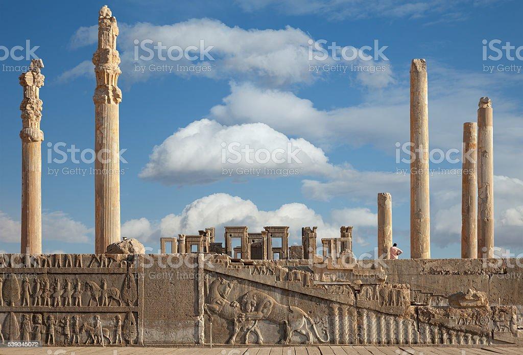 Ruins of Persepolis UNESCO World Heritage Site in Shiraz City stock photo