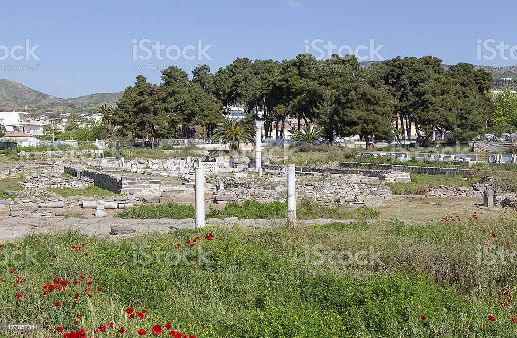 Ruins of Phthiotic Thebes in Nea Anchialos, Thessaly, Greece stock photo
