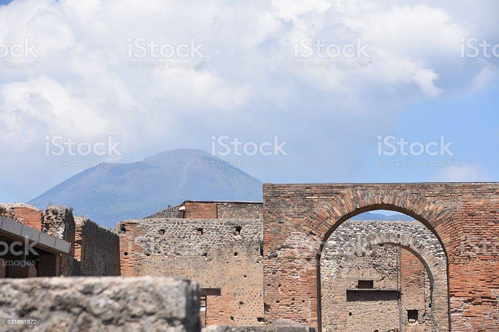 Ruins of Pompei and Mt. Vesuvius stock photo