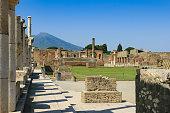 Ruins of Pompeii with Mount Vesuvius in Background, Campania, Italy