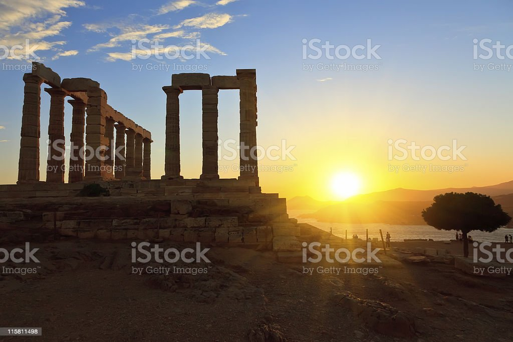 Ruins of Poseidon temple stock photo