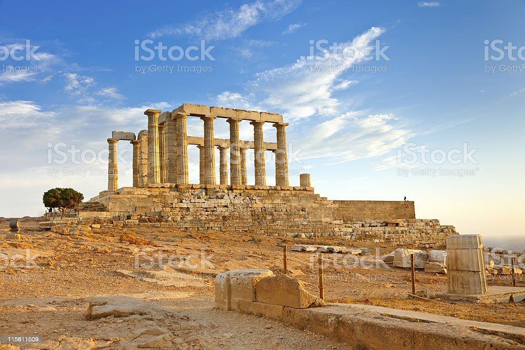 Ruins of Poseidon temple stock photo