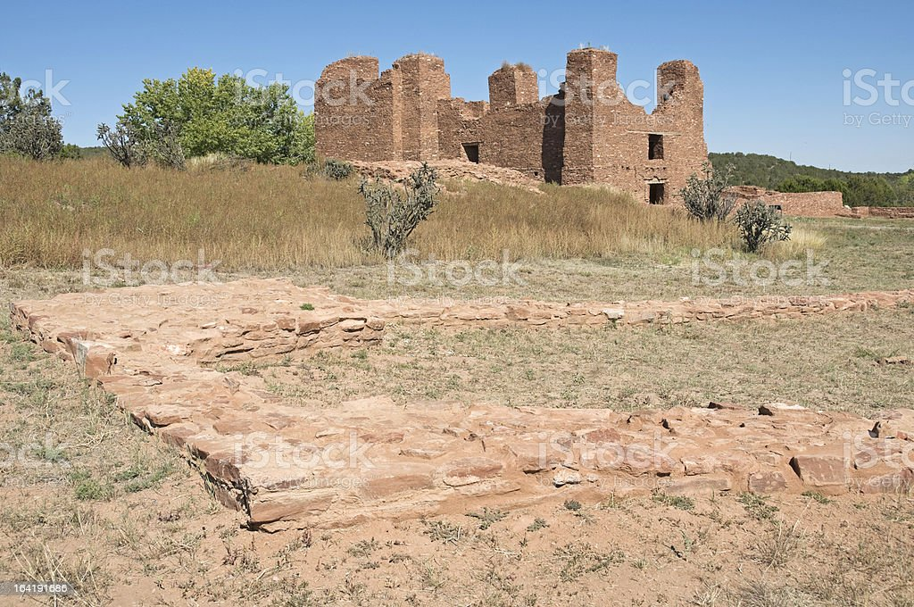 Ruins of pueblo and mission in New Mexico stock photo