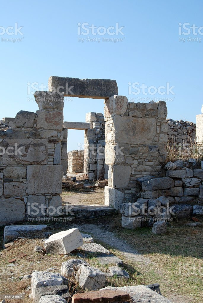ruins of pythagorion stock photo
